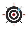 arrow in target centre icon dart in bullseye vector image vector image