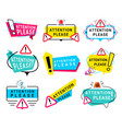 attention please message color signs set vector image