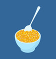 bowl of corn porridge and spoon isolated healthy vector image vector image