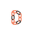 chain letter d link logo icon vector image vector image