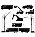 construction equipment trucks excavator vector image vector image