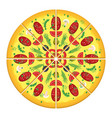 cut pizza with sausage vector image