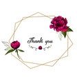 diamond frame with peony flowers leaves and words vector image vector image