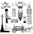 english icon set london city symbols travel uk vector image vector image