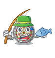 fishing dartcoard isolated with in the character vector image vector image