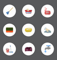 flat icons besom mopping sponge and other vector image vector image