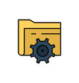 folder setting gear computing flat color icon vector image vector image