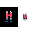 h blue red letter alphabet logo icon design vector image vector image