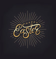 happy easter hand written golden lettering vector image