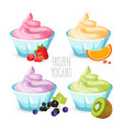 ice cream rosette with various taste colorful vector image vector image