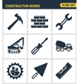 Icons set premium quality of construction works on vector image vector image