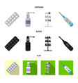 isolated object of pharmacy and hospital logo vector image vector image