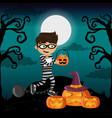 kid and halloween vector image