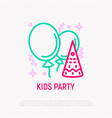 kids party thin line icon balloons confetti vector image vector image