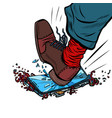 man breaks phone with his foot vector image vector image