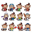 monkey sports set vector image