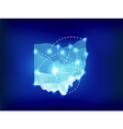 Ohio state map polygonal with spot lights places vector image vector image