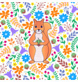 pattern with orange squirrel vector image