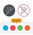 Pizza icon Piece of Italian bake sign vector image vector image
