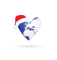 planet earth in heart with christmas hat vector image