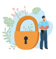 police officer in front of the giant lock vector image
