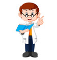 professor cartoon holding book vector image vector image