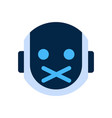 robot face icon silent shocked face emotion vector image vector image