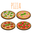 set of isometric pizzas isolated on white vector image