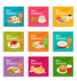set posters of always fresh and delicious vector image vector image