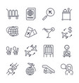 simple airport icons set universal airport icons vector image vector image