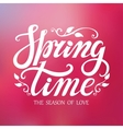 Spring time letteringPink blurred background vector image vector image