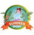 summer sport banner inscription happy girl vector image