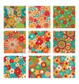 vintage floral seamless patterns set psychedelic vector image vector image