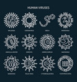 virus types icon set in line style vector image vector image