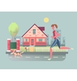 Woman run with dog on street vector image vector image