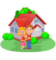 Young couple with newborn son outdoors in spring vector image