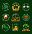 stpatricks day badge and label collection vector image