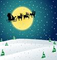 Winter night with Santa sleigh vector image