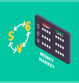 currency exchange and table of money market icon vector image