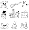 Halloween castle element doodle vector image