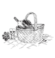 Picnic basket with wine and glasses vector image
