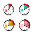 5 10 15 20 minutes analog clock icons time symbol vector image