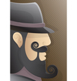 a man with a curly beard and black hat vector image