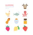 Allergens flat design icons set vector image vector image