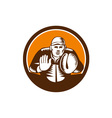 Baseball Catcher Gloves Circle Woodcut vector image vector image
