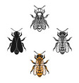 bee icon in cartoonblack style isolated on white vector image