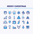 big set linear christmas and new year icons vector image