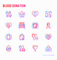 blood donation charity mutual aid thin line icon vector image vector image