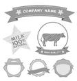 butcher shop labels and design elements Farm cow vector image