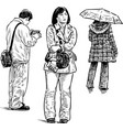 casual people on bus stop vector image vector image